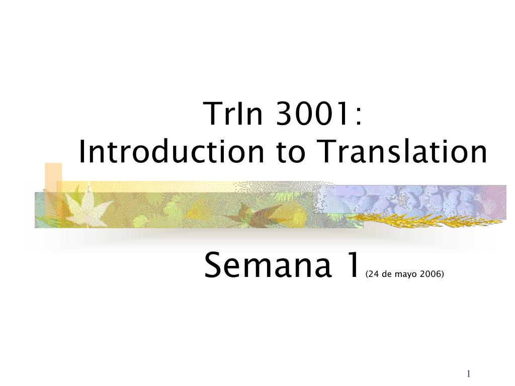 trin 3001 introduction to translation l.