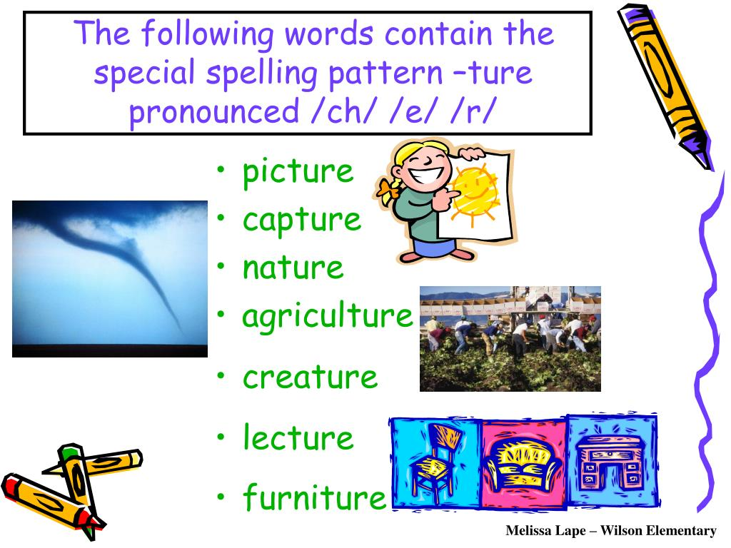 The following words contain the special spelling pattern –ture pronounced /ch/ /e/ /r/