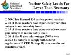 nuclear safety levels far lower than necessary