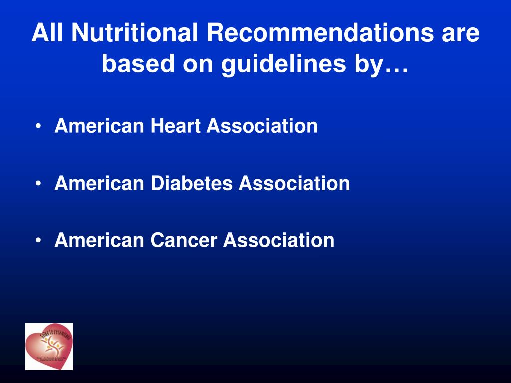 All Nutritional Recommendations are based on guidelines by…