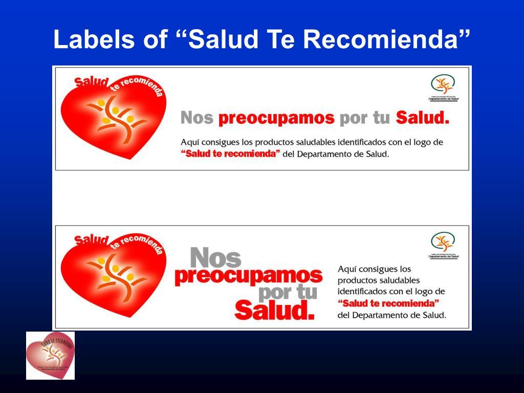 "Labels of ""Salud Te Recomienda"""