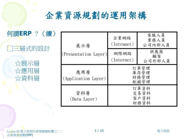 企業資源規劃的運用架構