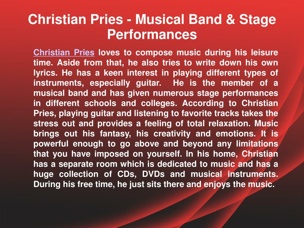 Christian Pries - Musical Band & Stage Performances
