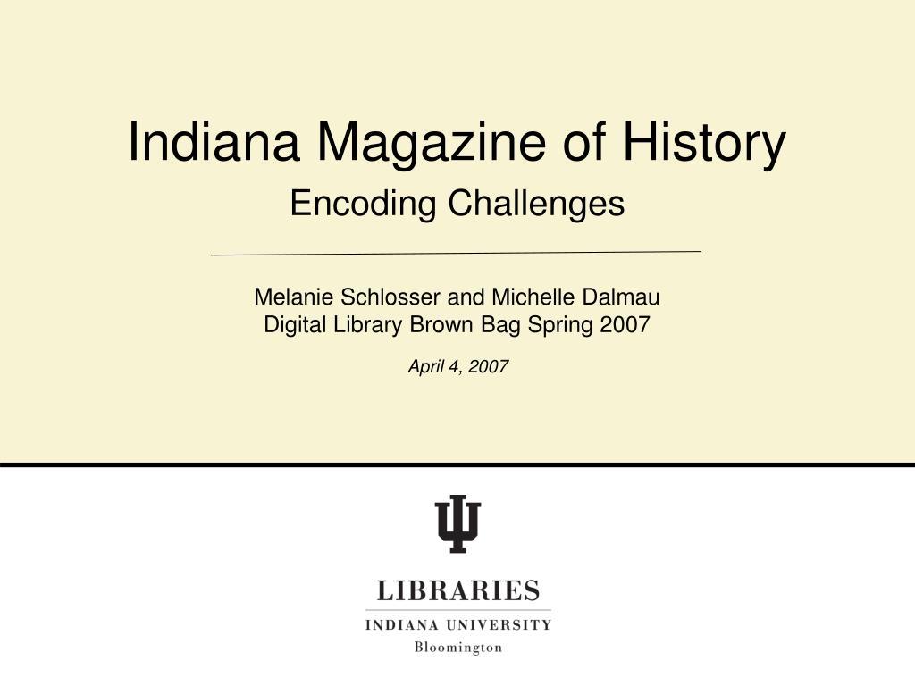 Indiana Magazine of History