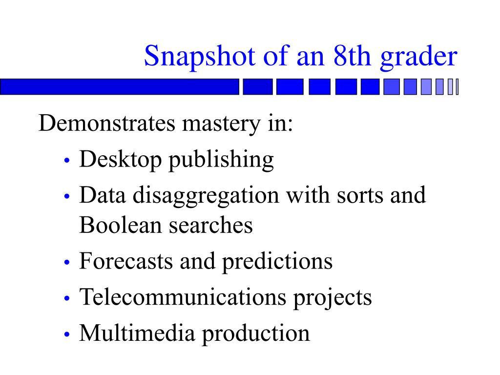 Snapshot of an 8th grader
