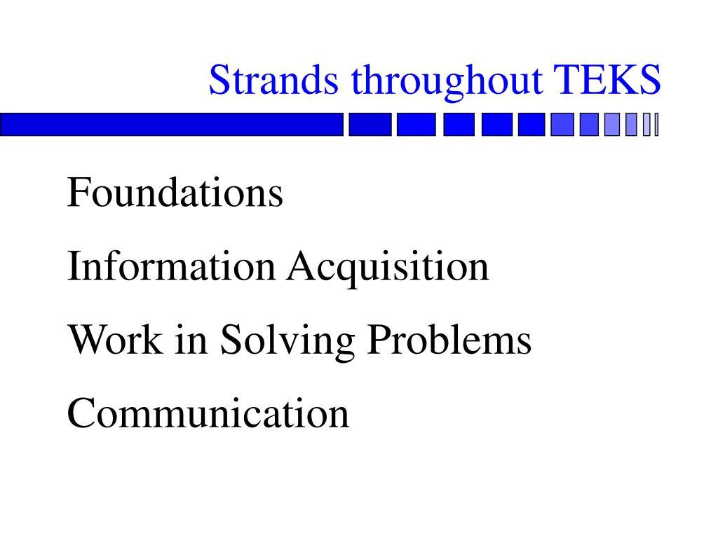 Strands throughout TEKS