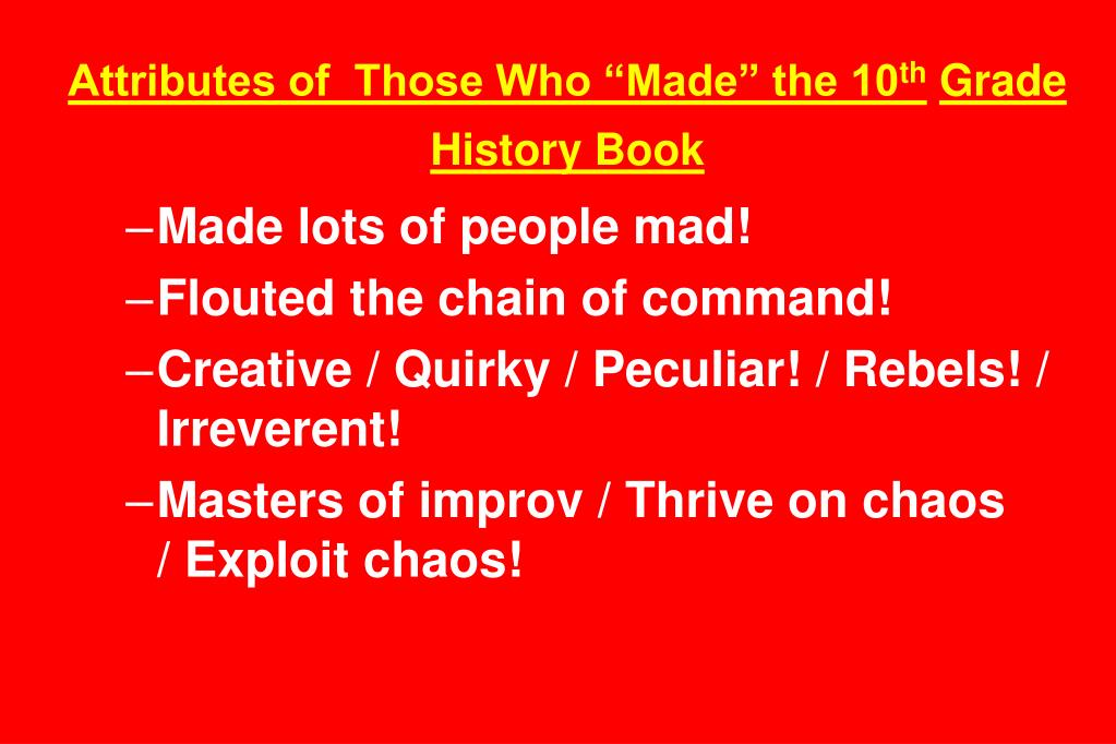 "Attributes of  Those Who ""Made"" the 10"