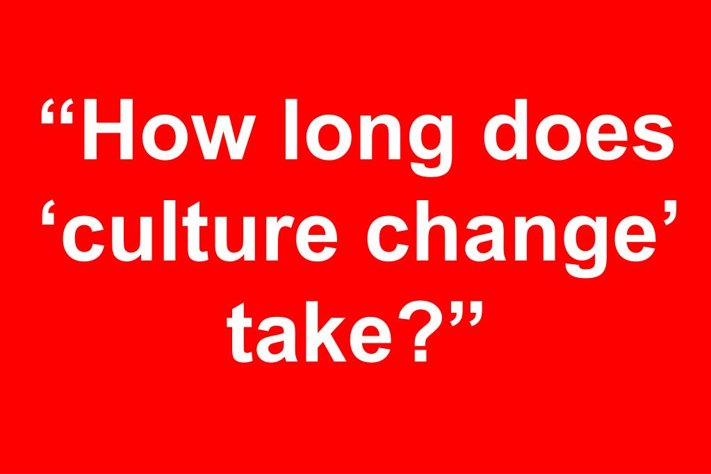 """How long does 'culture change' take?"""