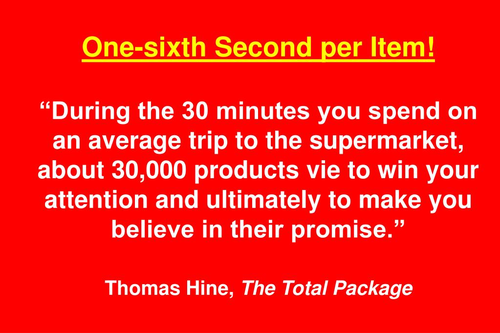 One-sixth Second per Item!