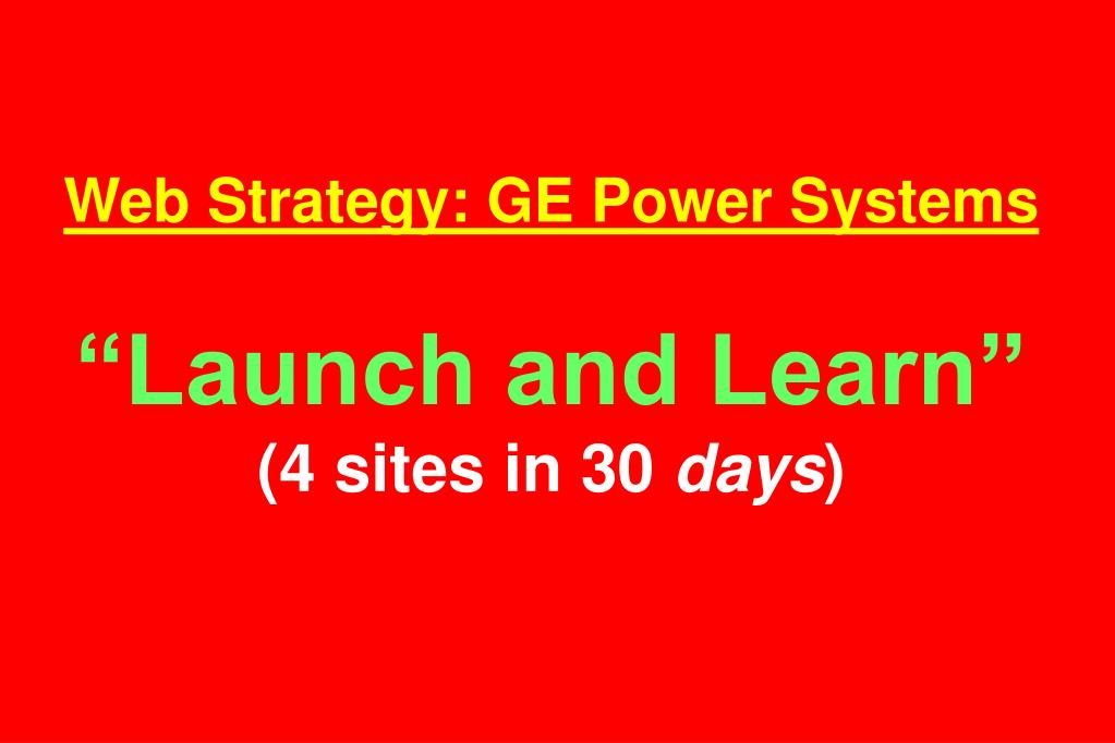 Web Strategy: GE Power Systems