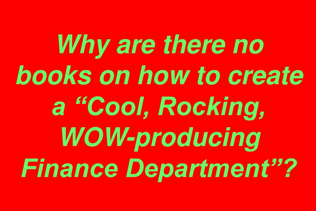 "Why are there no books on how to create a ""Cool, Rocking, WOW-producing Finance Department""?"