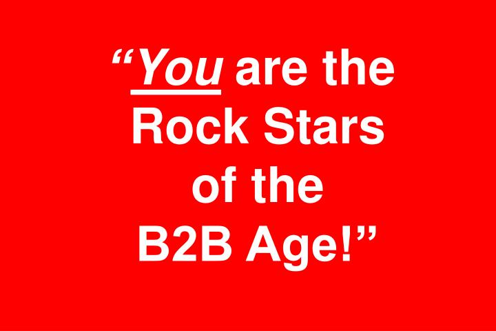 You are the rock stars of the b2b age