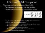 effects of tidal dissipation