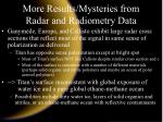 more results mysteries from radar and radiometry data