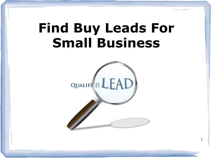 Find Buy Leads For Small Business