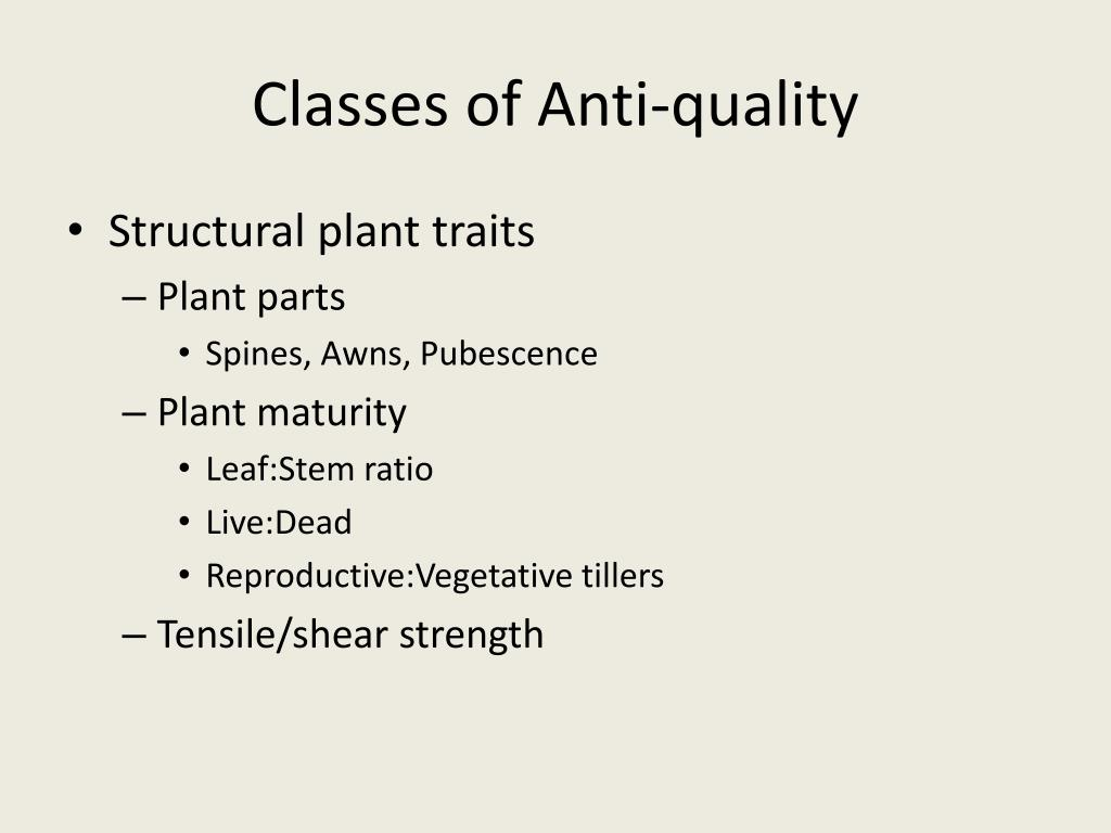 Classes of Anti-quality