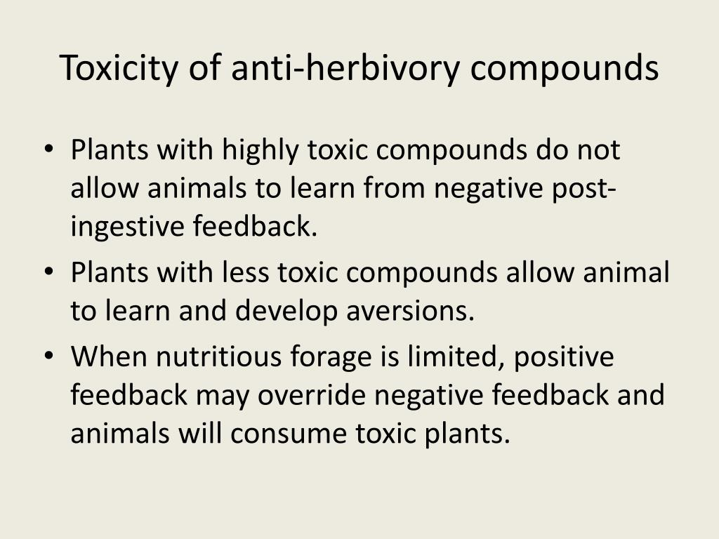 Toxicity of anti-herbivory compounds