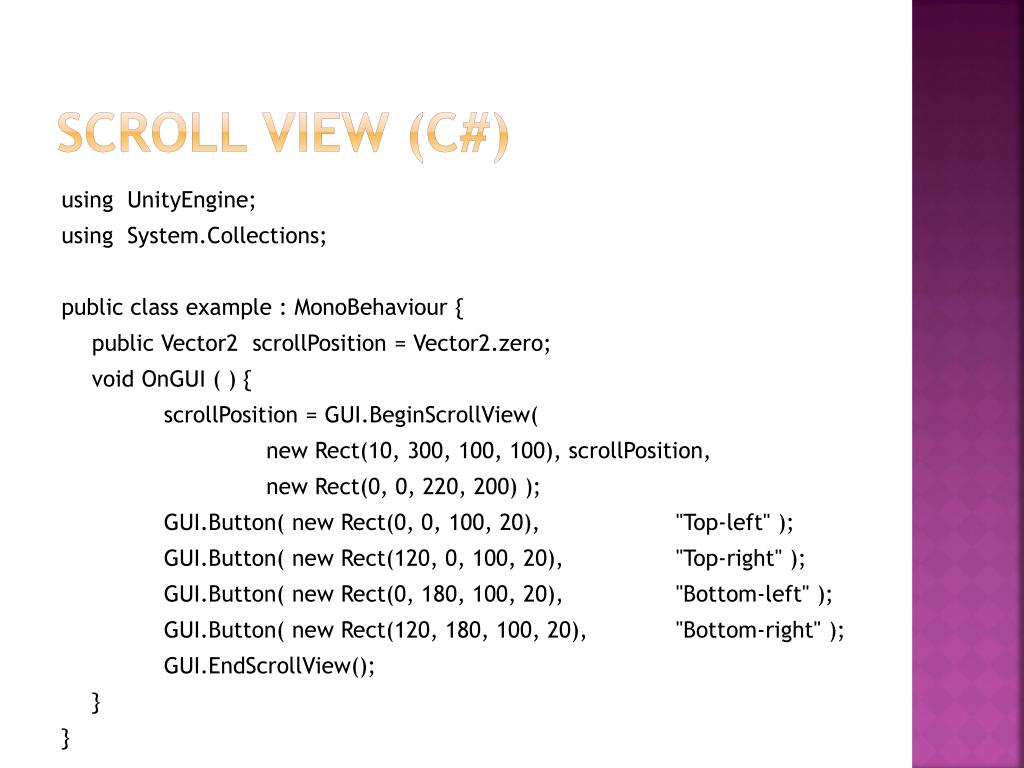 Scroll view (C#)