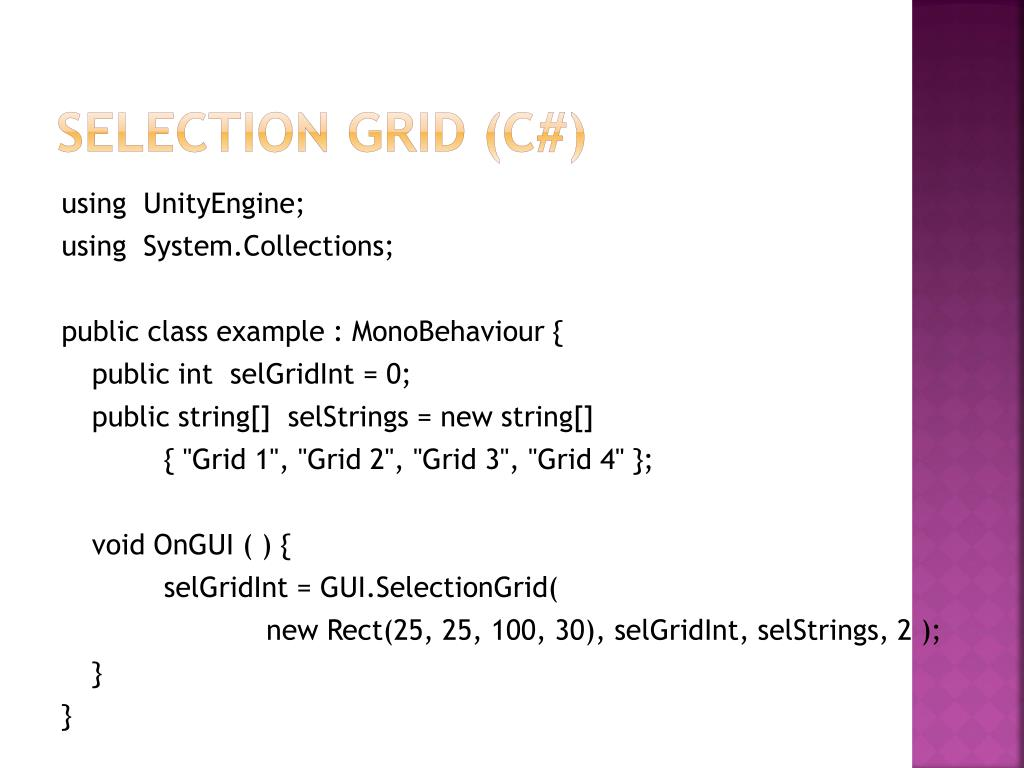 Selection grid (C#)
