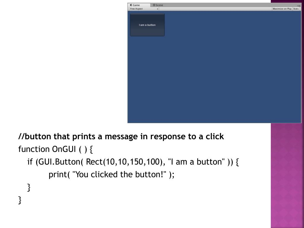 //button that prints a message in response to a click