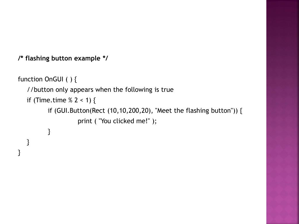 /* flashing button example */
