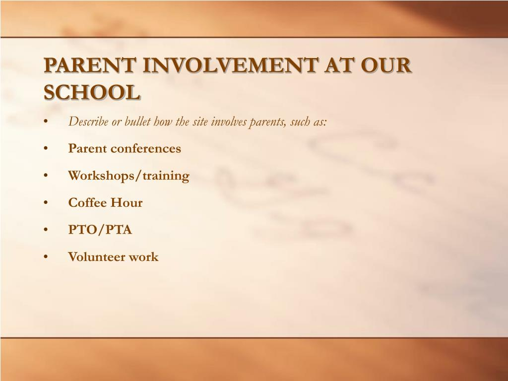 PARENT INVOLVEMENT AT OUR SCHOOL