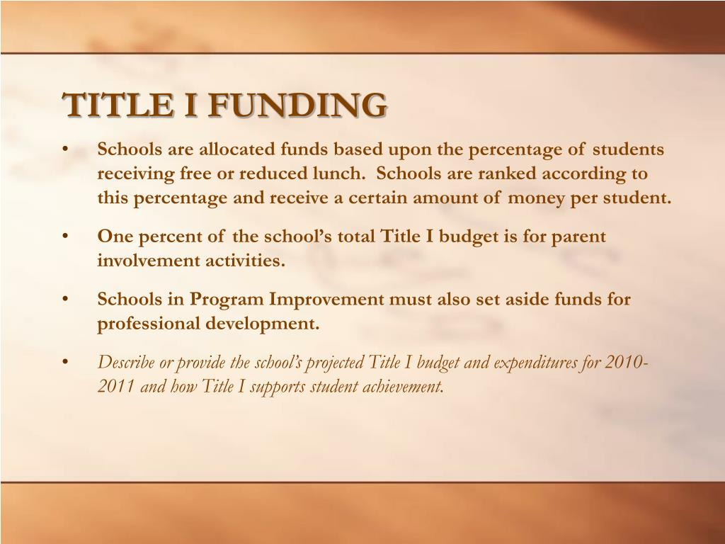TITLE I FUNDING