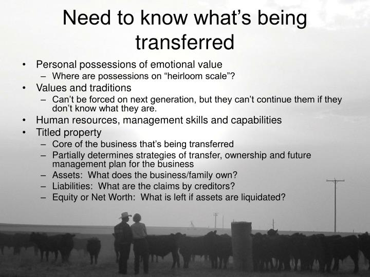 Need to know what s being transferred