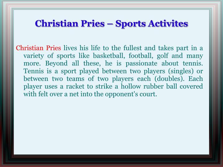 Christian pries sports activites