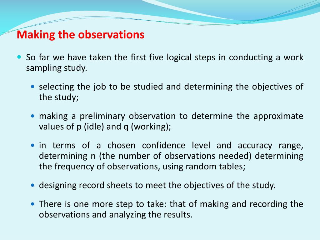 Making the observations