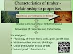 characteristics of timber relationship to properties