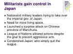 militarists gain control in japan