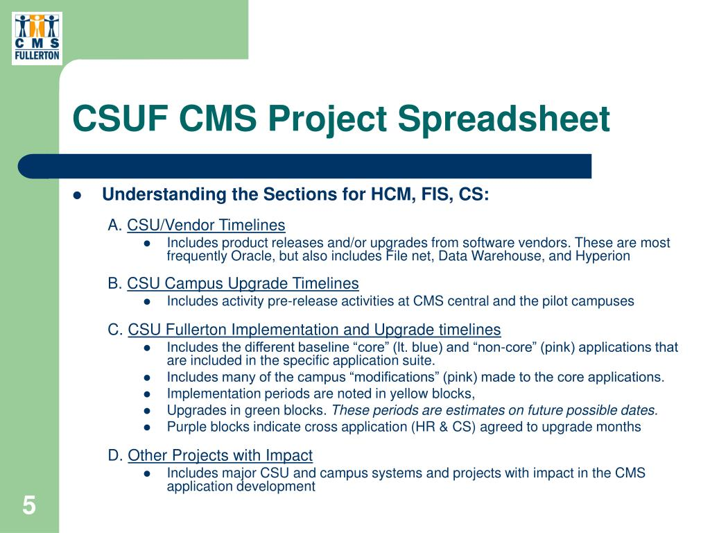 CSUF CMS Project Spreadsheet