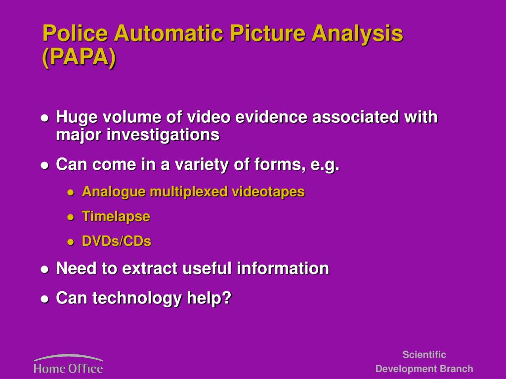 Police Automatic Picture Analysis (PAPA)