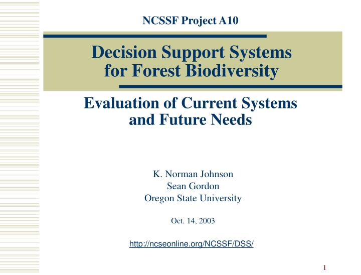 decision support systems for forest biodiversity n.