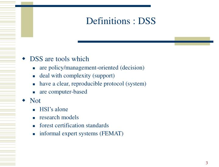 Definitions dss