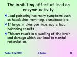 the inhibiting effect of lead on enzyme activity26