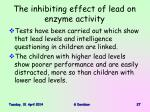 the inhibiting effect of lead on enzyme activity27