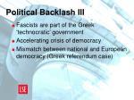 political backlash iii