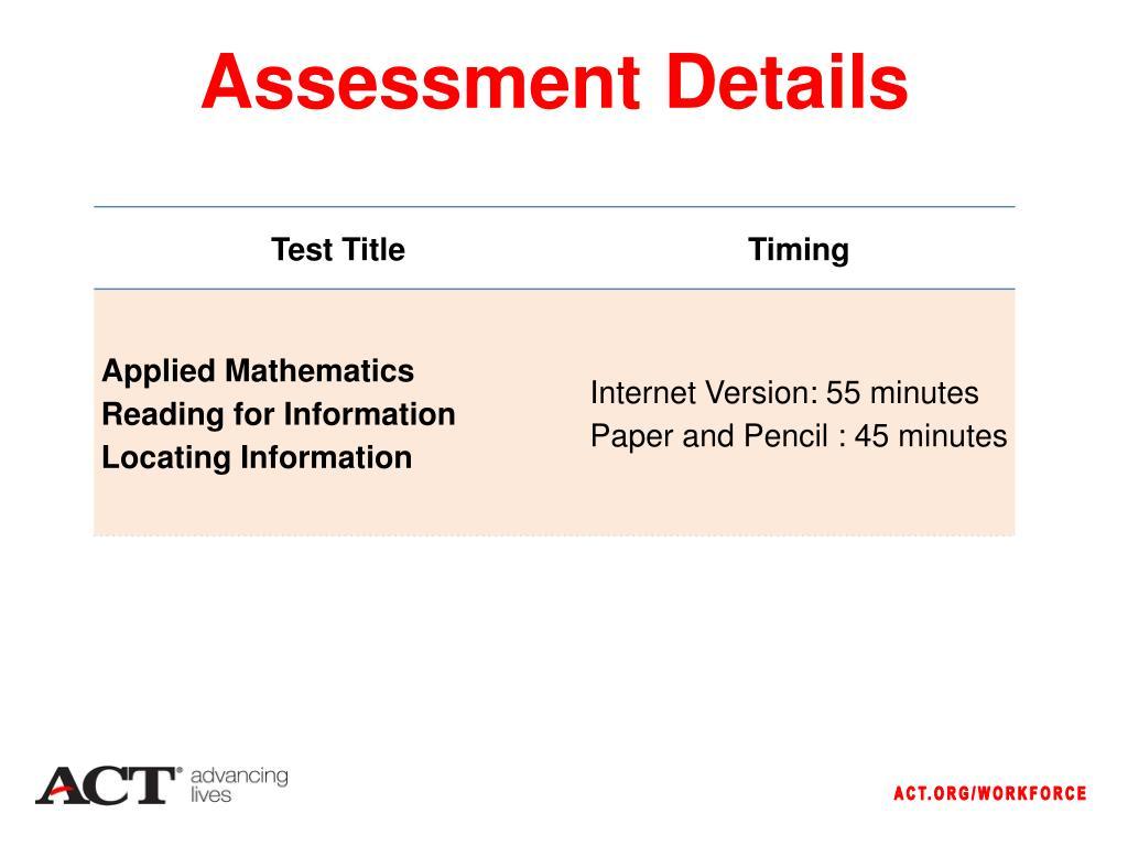 Assessment Details