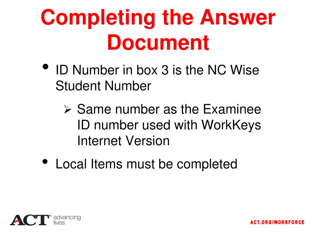 Completing the Answer Document