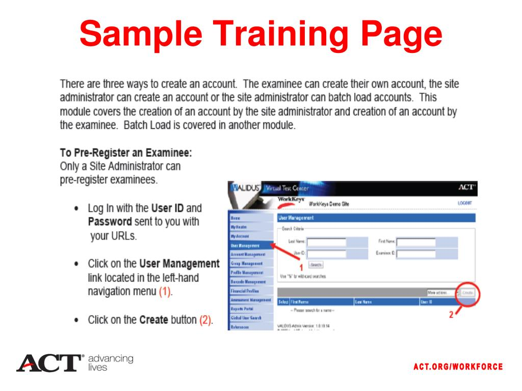 Sample Training Page