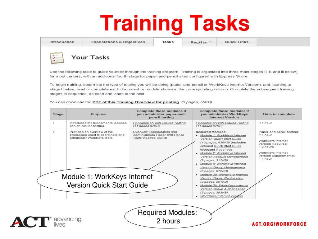 Training Tasks