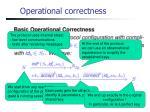operational correctness