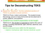 tips for deconstructing teks