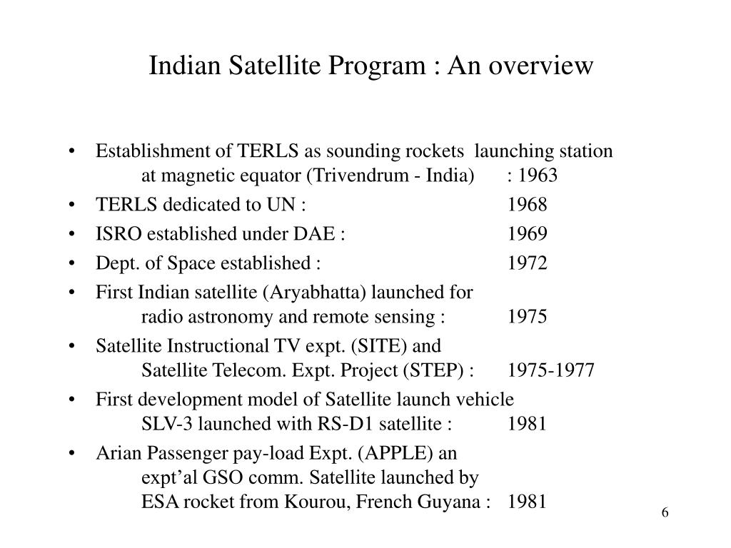 Indian Satellite Program : An overview