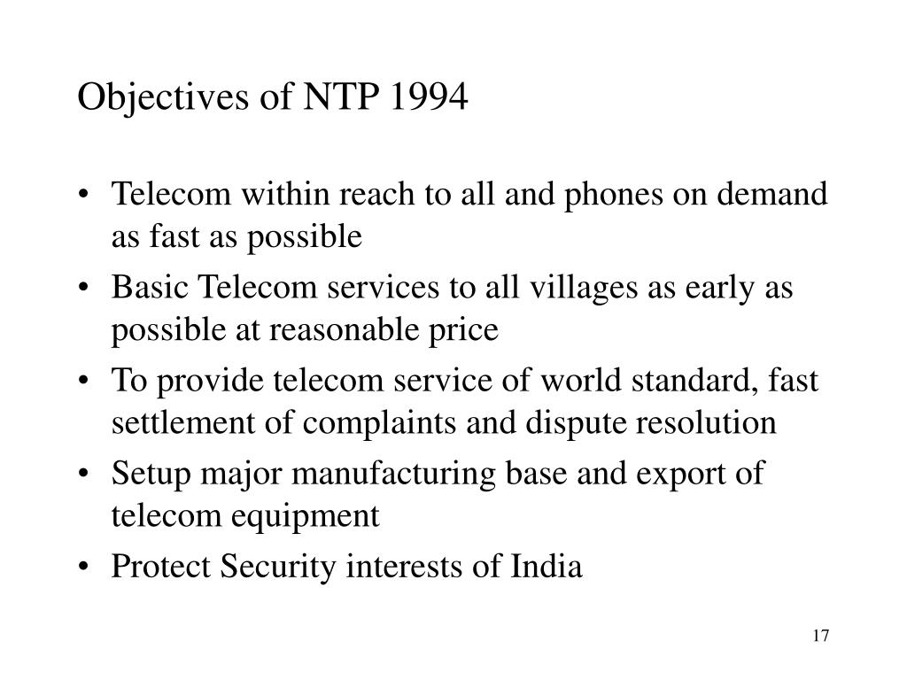Objectives of NTP 1994