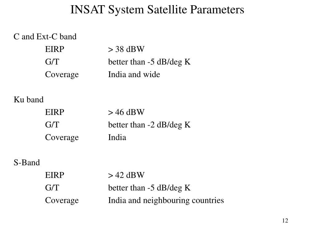 INSAT System Satellite Parameters