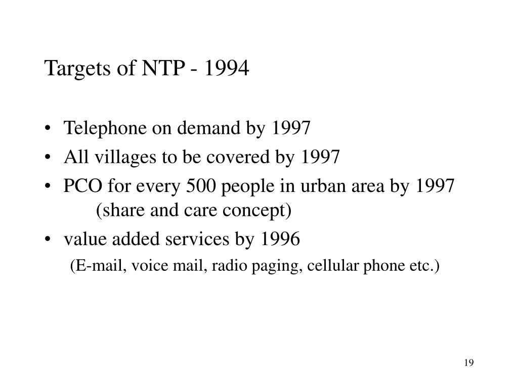 Targets of NTP - 1994