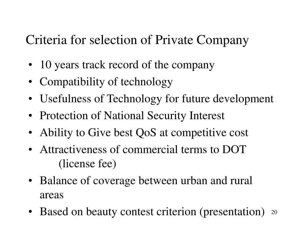 Criteria for selection of Private Company